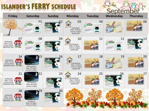 September Ferry Schedule