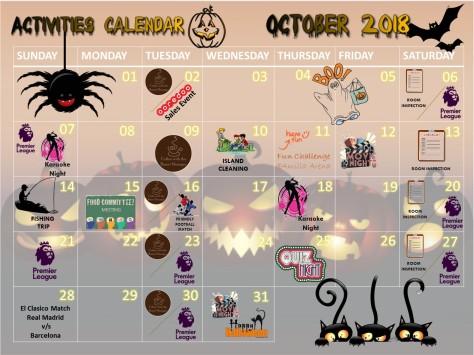 Activities Calendar - October 2018