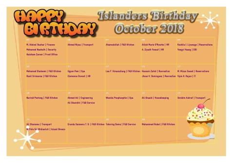 October Birthday Calendar