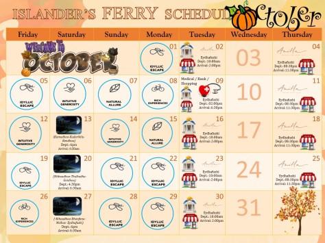 October Ferry Schedule