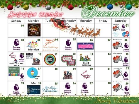 Activities Calendar - December 2018