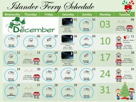 December Ferry Schedule