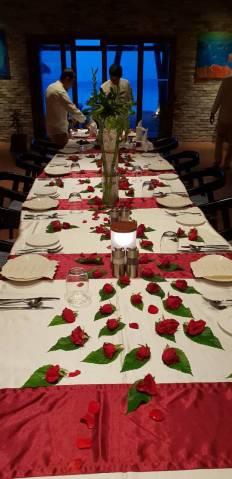 Farewell dinner set up